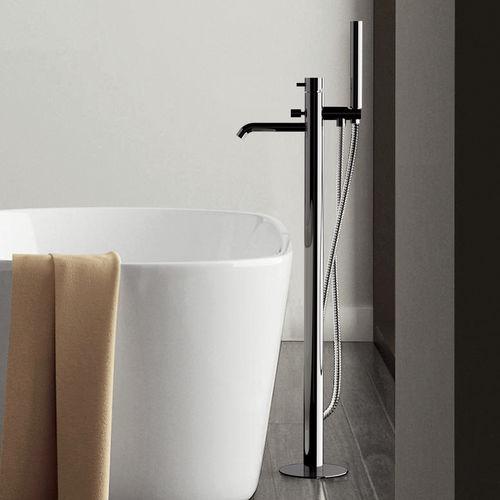 Badewannen-Einhebelmischer / bodenstehend / aus verchromtem Messing / Badezimmer