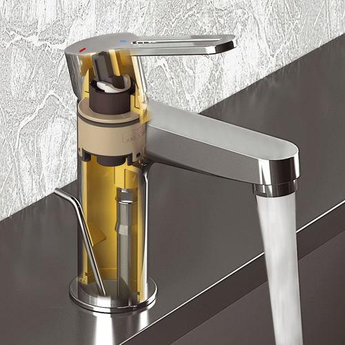 Einhebelmischer für Waschtisch / aus verchromtem Messing / Badezimmer / 1-Loch