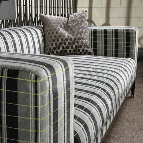 Möbelstoff / Streifenmuster / Polyester / Baumwolle