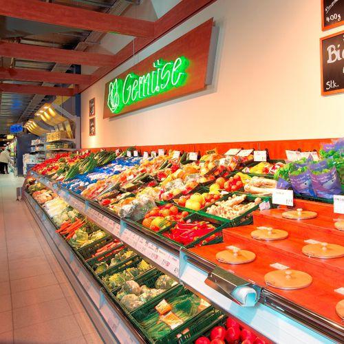 Regalsystem für Geschäfte / für Obst und Gemüse / Standard / Metall