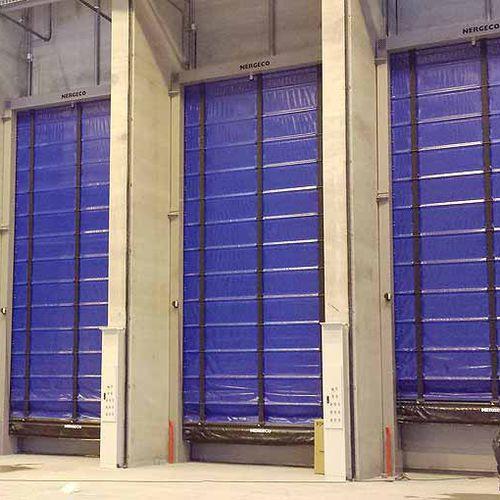 selbsttragendes Industrietor / faltbar / Stahl / PVC