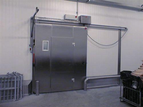 Schiebe-Industrietor / Metall / automatisch / verglast