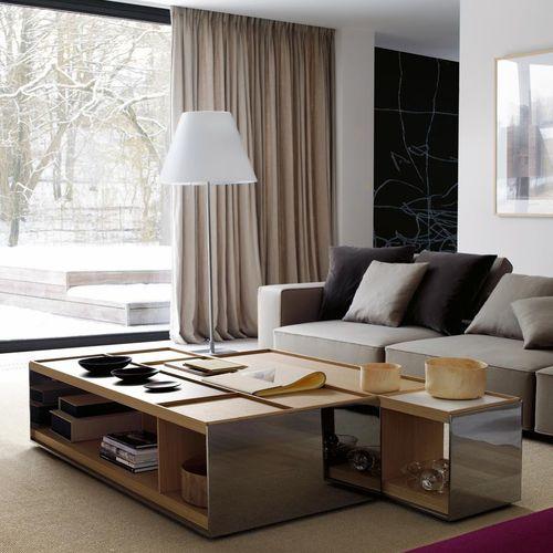 moderner Couchtisch / Holz / aus MDF / Stahlblech