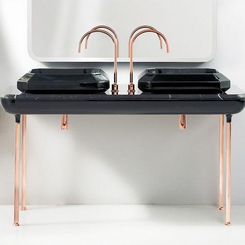 moderner Tisch / Aluminium / Kupfer / Marmor