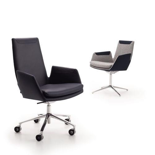 moderner Bürosessel / Stoff / Leder / Aluminium