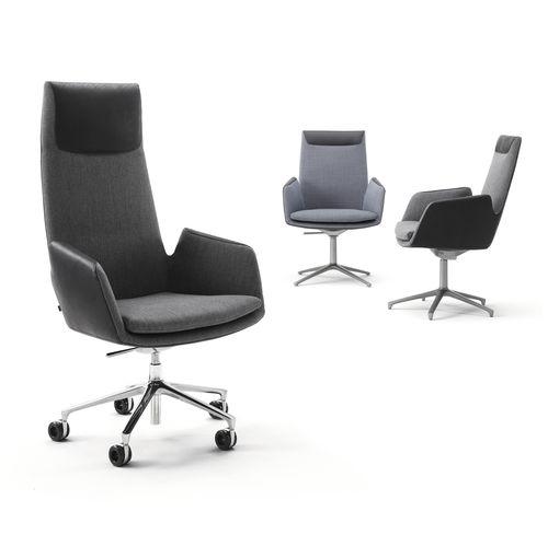 moderner Bürosessel / Stoff / mit Rollen / zentrales Fußgestell