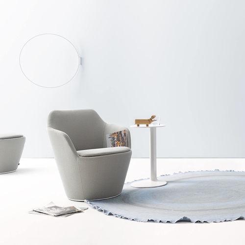 moderner Sessel / Stoff / drehbar / mit Rollen