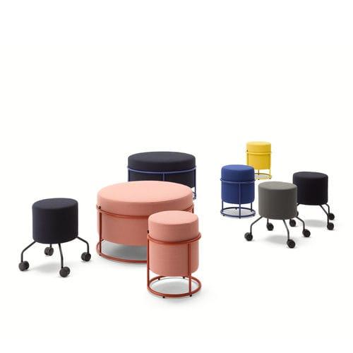 moderner Hocker / Leder / Stoff / Objektmöbel