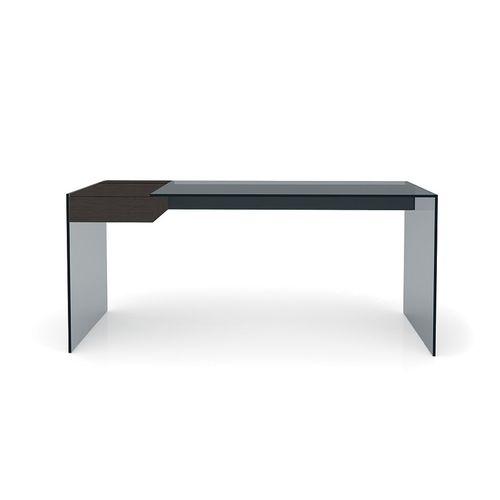 Schreibtisch aus Esche / Aluminium / Edelstahl / Glas