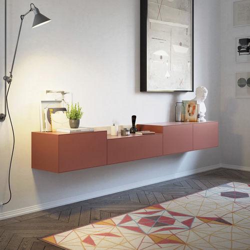 wandmontiertes Sideboard / modern / lackiertes Holz / aus Eiche
