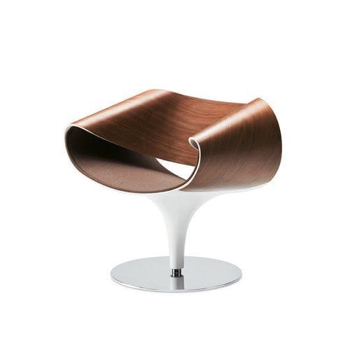 Sessel / originelles Design / Leder / Holz / Stahl