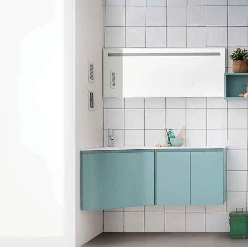 hängender Waschtisch-Unterschrank / lackiertes Holz / modern / mit Spiegel