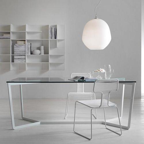 moderner Tisch / Glas / Metall / rechteckig
