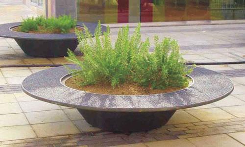 Gusseisen-Pflanzkübel / rund / modern / für öffentliche Bereiche