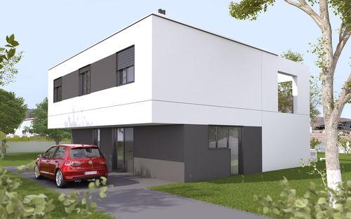 Fertigbauhaus / Modul / modern / Beton