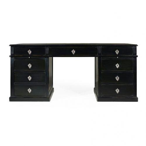 Schreibtisch aus Eiche / aus Kirschbaum / aus Mahagoni / Leder