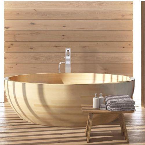 freistehende Badewanne / rund / Holz