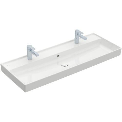 doppeltes Waschbecken / Einbau / rechteckig / Keramik