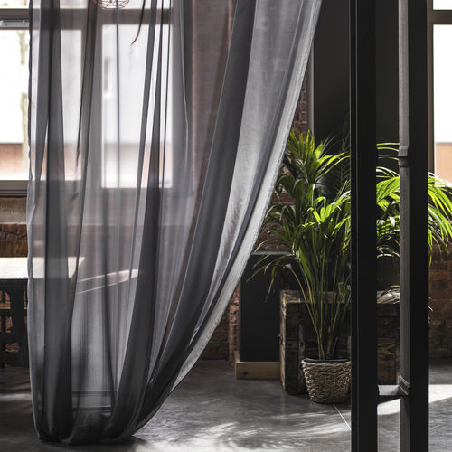 Gardinenstoff / uni / Polyester / transparent