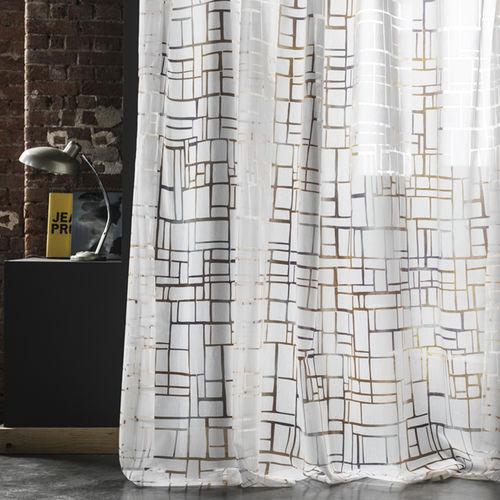 Gardinenstoff / mit geometrischem Muster / Polyester / Baumwolle