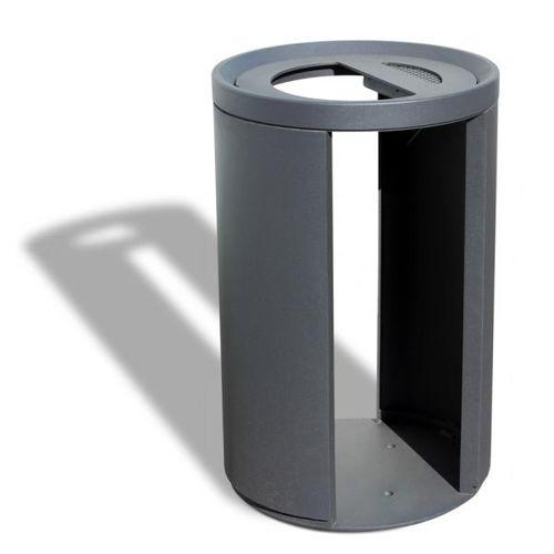 Park-Abfallbehälter / Stahlblech / mit integriertem Aschenbecher / Antiterror