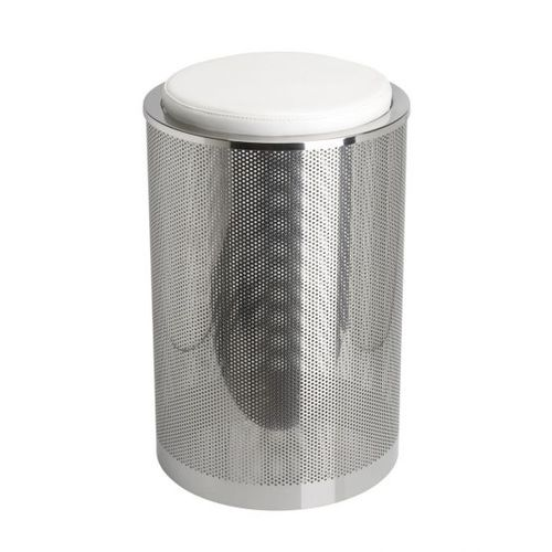 Leder-Wäschekorb / Metall
