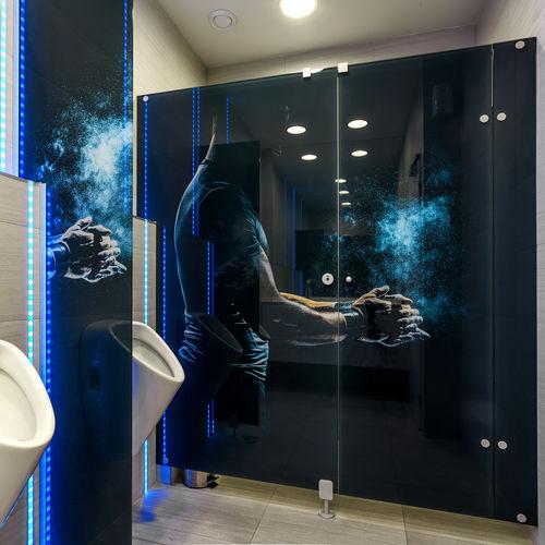 Sanitärkabine für Toilette / für Öffentliche Sanitäreinrichtungen / Glas / Edelstahl / Aluminium