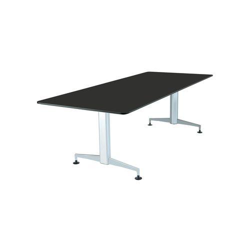 moderner Arbeitstisch / Laminat / Holzfurnier / Aluminium