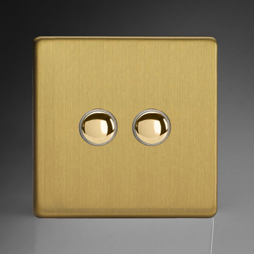 Drucktaster-Schalter / Einbau / doppelt / gebürstetes Messing