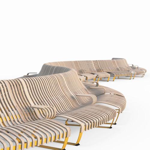 Parkbank / modern / Holz / Metall