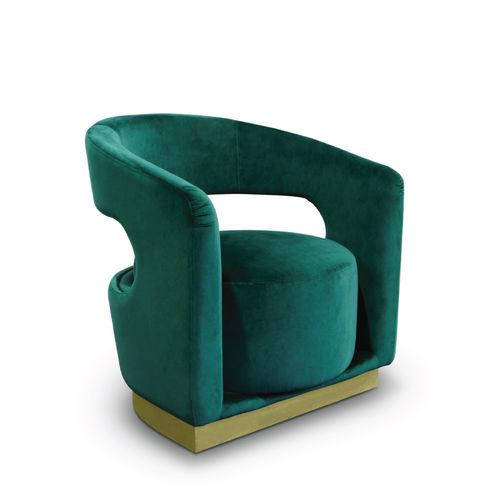 moderner Sessel / Samt / poliertes Messing / weiß