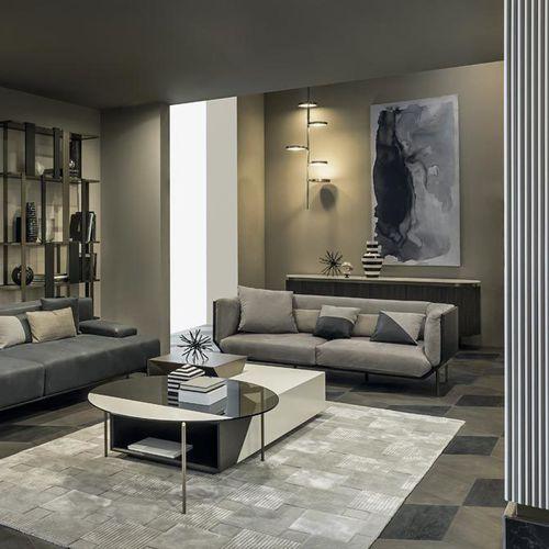 modernes Sofa / Leder / Bronze / 2,5 Plätze