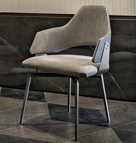 moderner Stuhl / Polster / mit Armlehnen / Leder