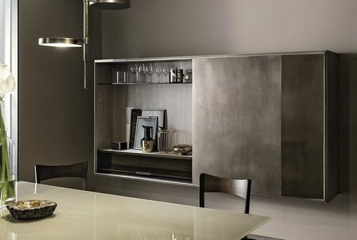 moderner Barschrank / Holz / Glas