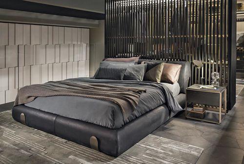 Doppelbett / modern / Polster / Leder