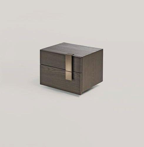 moderner Nachttisch / aus Esche / Metall / rechteckig
