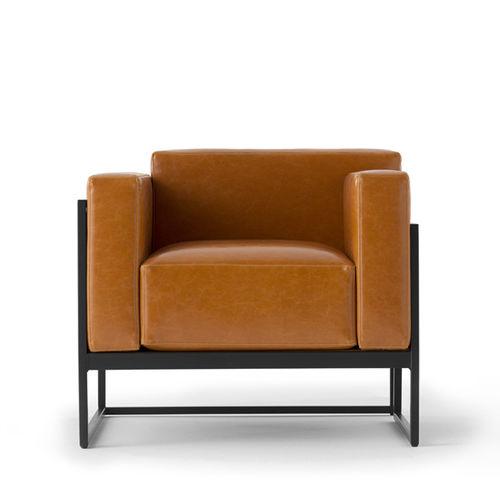 moderner Sessel / Stoff / Leder / Metall
