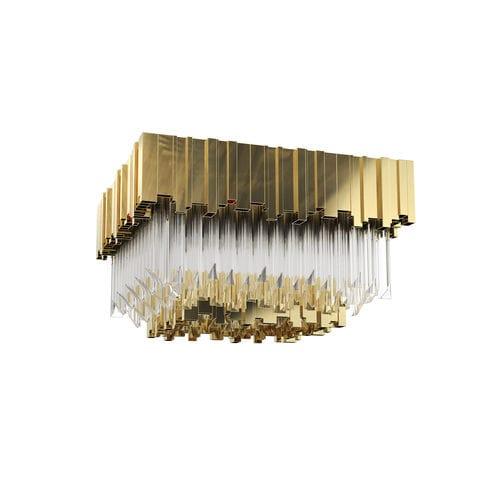 moderne Deckenleuchte / Kristall / Messing mit Goldauflage / Halogen
