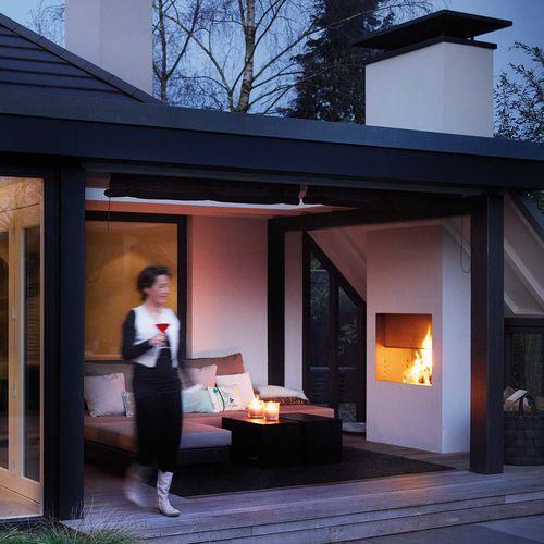 Gaskamin / Holz / modern / geschlossene Feuerstelle