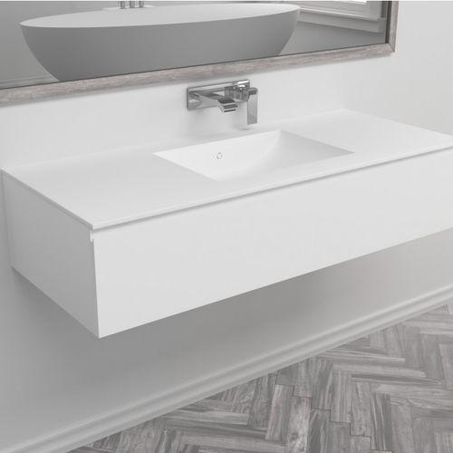 wandmontierter Waschtisch-Unterschrank / aus Corian® / modern / Schubladen