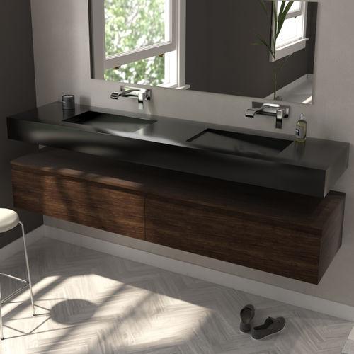 doppeltes Waschbecken / Wand / rechteckig / aus Corian®
