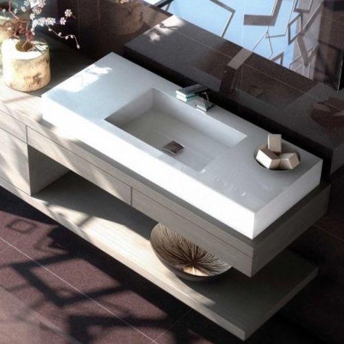 Wand-Waschbecken / rechteckig / Keramik / aus Corian®