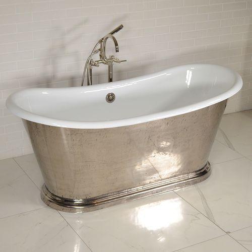 freistehende Badewanne / oval / Gusseisen / emailliertes Metall