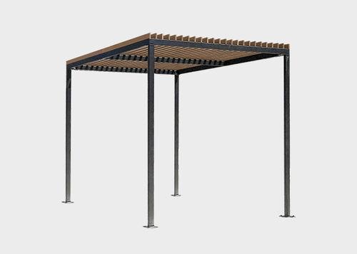 selbsttragende Pergola / Stahl / Holzdach / Objektmöbel