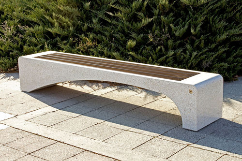 Parkbank / modern / Holz / Faserbeton