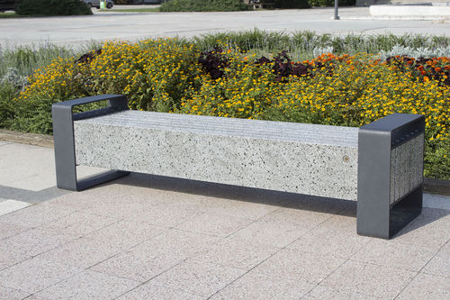 Parkbank / modern / Metall / Beton