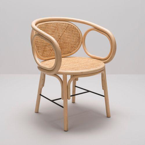 moderner Sessel / Stoff / aus Rattan / Nylon