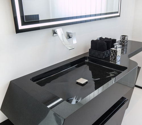 Wand-Waschbecken / rechteckig / Granit / modern