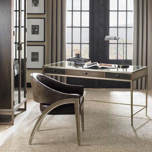 Schreibtisch aus Eiche / lackiertes Metall / Glas / Leder