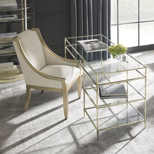 Schreibtisch / goldfarbenes Metall